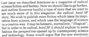 Interzone issue 8 editorial radical science fiction